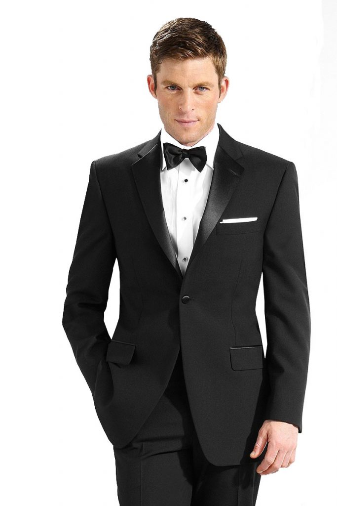 black 2 button front tuxedo