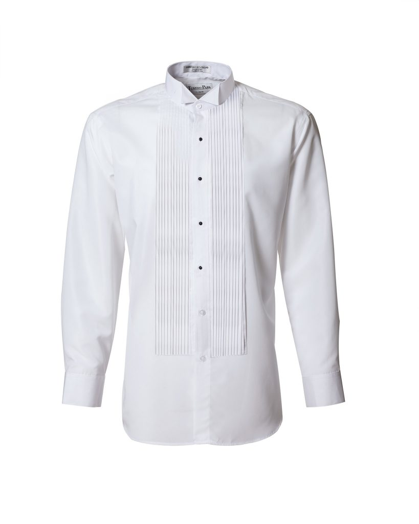 wing tip tuxedo shirt with pleats